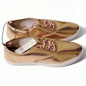 Size 6 Rose Gold Colored Lace up Sneakers